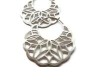 Large SIlver Hoop Earrings, Filigree Hoops, Lace Earring Hoops Disc Earrings  Artisan Handmade  by Sheri Beryl