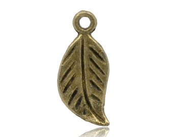 10pc Antique Bronze Leaf Charms - 17x7mm - Necklace Finding, Jewelry Making Supplies, Jewelry Finding, Feather, Ships from the USA - N17