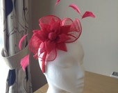 Red Fascinator and Feather Fascinator on a hairband, races, weddings, special occasions, Ascot, Mother of the Bride