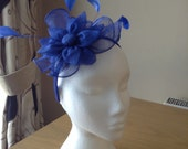Royal Cobalt Blue Fascinator and Feather Fascinator on a hairband, races, weddings, special occasions, Ascot, Mother of the Bride