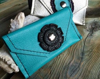 Soft Leather Card Purses - Turquoise, Black & Silver Leather - Leather Business Card Holder - One Of A Kind - Handmade - Gifts for Her