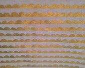 Half Yard, Ellen Baker, Half Round (Scallop Pattern) in Gold and Cream Canvas, Stamped, Charms, Canvas