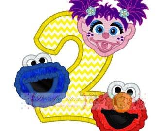 Cookie Elmo Abby Cadabby Birthday 2  Digital Embroidery Applique Design