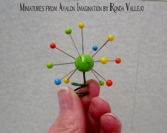REDUCED! Miniature 1: 12th or 1/6th Scale Handmade Atomic Christmas tree topper sculpture in turquoise, orange, yellow, and lime