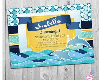 Dolphin Invitations, Dolphin Party, Printable Dolphin Birthday Party Invitations