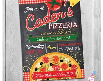 Pizza party invitations gangcraft items similar to printable pizza birthday invitation pizza party invitations stopboris Image collections