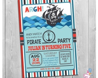 Pirate Party Invitation: Printable Personalized Boys Birthday Party Invitation | Personalized Invites | Pirate Ship Theme Party Invitations