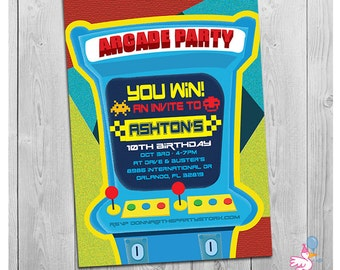 Arcade Invitation: Printable Personalized Boys Birthday Party Invitations | Kids Custom Invites | Digital Blue Green Red Yellow