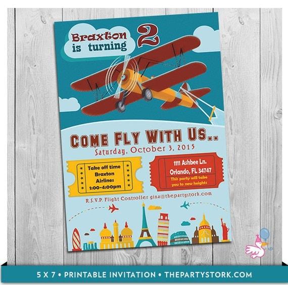 Airplane invitation airplane party airplane party birthday il570xn filmwisefo