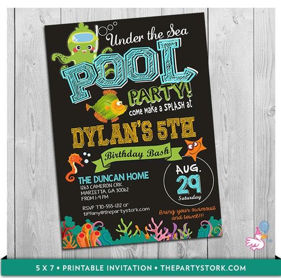 under the sea pool party invitation printable birthday