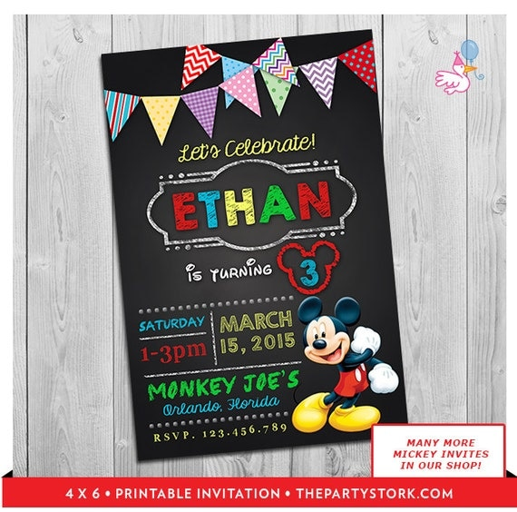 Mickey Mouse Clubhouse Invitations Printable Personalized Boy or