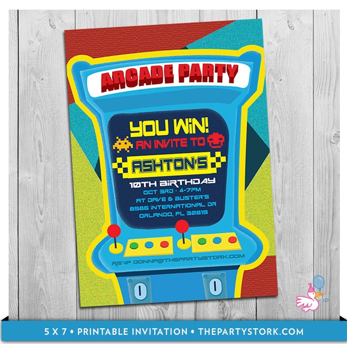 Arcade Invitation: Printable Personalized Boys Birthday Party