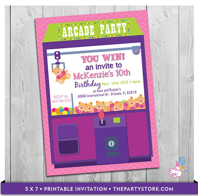 Arcade Invitation: Printable Personalized Girls Birthday Party