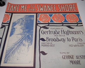 Take Me To The Swanee Shore, 1912 Sheet Music, F A Mills Pub, Great Graphics
