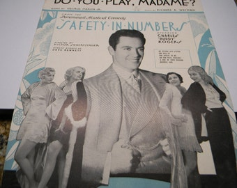 1930 Sheet Music, Do you Play, Madame, From Safety In Numbers, Whiting and Marion