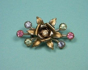 Floral Rhinestone Bow Brooch or Pin. Green, Pink and Blue Rhinestones, Petite