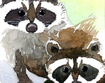 ACEO Limited Edition 2/25- Little bandits, Raccoons, Gift for animal lovers, Art print of an original ACEO watercolor, Home deco idea