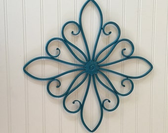 Turquoise Metal Wall Hanging /Large Metal Wall Decor / Decorative Wall Hanging / Teal / Turquoise Decor /Swirled Metal / Outdoor