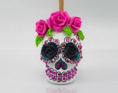 Skull white day of dead charm hang rear view mirror for car