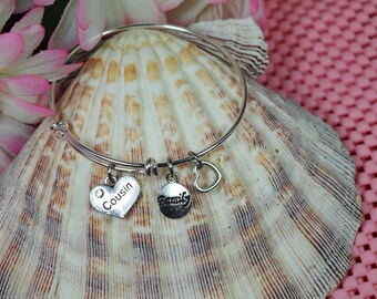 Cousin Bracelet.....Expandable Silver Plated Bangle Bracelet