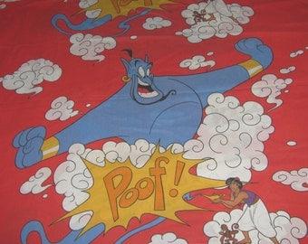 Vintage Disney Aladdin Twin Sheet Set - Flat, Fitted Sheets - Aladdin, Abu, and Genie - Red Vintage Disney Cotton/Polyester