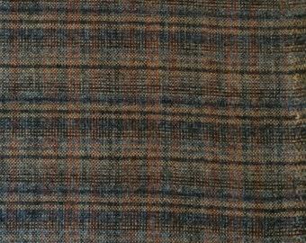 Wool Fabric / Brown Plaid Wool Blend Yardage 1 1/2 Yards