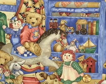 Cotton Fabric / Raggedy Ann Fabric / Timeless Treasures / Teddy Bear Fabric / Cotton Quilting Fabric / Quilting Fabric / Play Room Fabric