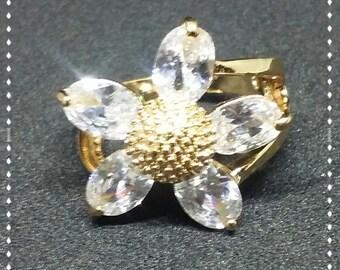 Gold CZ Flower RIng
