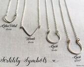 Fertility Symbol Necklace, Fertility Symbol Jewelry, Infertility Gift, TTC, Lucky Horseshoe, Womb Necklace, Lotus Flower Necklace, Gift