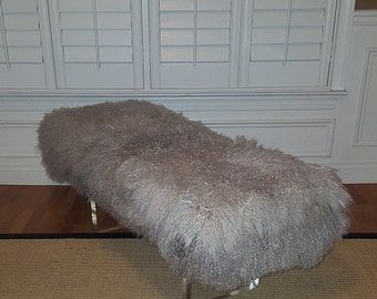 Lucite Bench with Mongolian Lamb Fur
