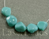 9pc Turquoise blue beads 15mm |  Blue glass beads | Turquoise nuggets Czech Glass | Opaque Blue beads