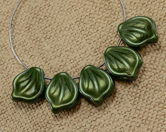 Green Leaves 14mm (16) Opaque Pressed Glass Bead Leaf Flower Petal Dark Green Frosted Matte Pearl coated last