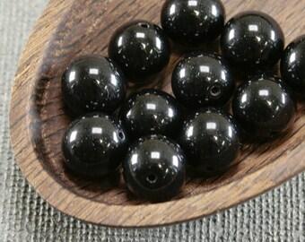12pc Black round beads 10mm |  Druk beads | Black ball beads | Czech Glass Opaque jet Black