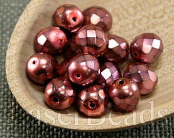 20pc 8mm faceted glass beads Red czech beads 8mm fire polish beads Coated carmen beads Pink beads