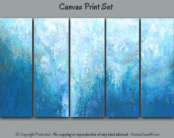 Abstract wall art set, Extra Large painting, Teal beige, Canvas prints Multi panel, Five piece 5 pc, Blue aqua turquoise, Office, Home decor