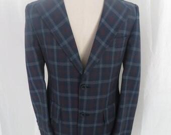 Vintage mens sportscoat jacket sportjacket, dress jacket, blazer, suit jacket, 70s blue red plaid