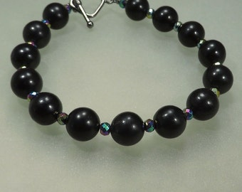 Jet and Hematite Bracelet - Mourning Jewelry Sadness Grief Sorrow Deflect Negative Energy - Reiki Jewelry