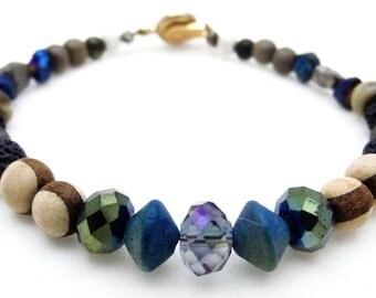 Men's Unique Beaded Bracelet Mixed Material Metal Stone Glass Wood Beads Swarovski Brass Clasp