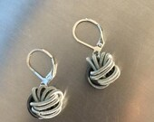 Silver and Slate knot Piano Wire Earrings