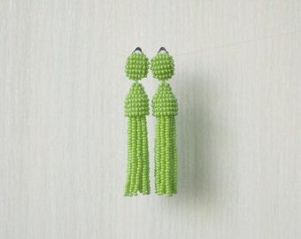 Beaded Tassel Clip-On Earrings Greenery (made to order)