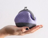 Crochet coin purse, kiss lock coin purse, the Lilac Keeper, in lilac and grey