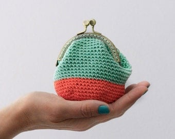 Crochet coin purse, kiss lock coin purse, the Mint Keeper, in mint and coral