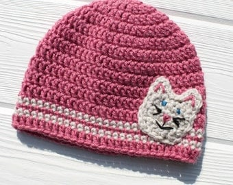 Kitty Hat, Crochet Cat Hat, Children's Hat, Made to Order
