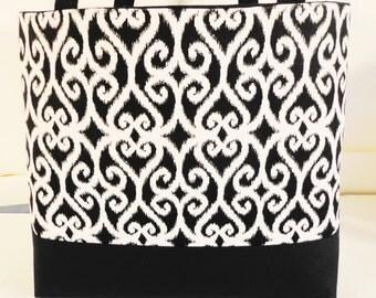 Large Tote Bag--Diaper Bag-Book Bag-Purse- Black White Print