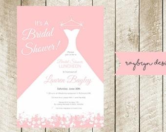 Pink Bridal Shower Invitation - Digital File