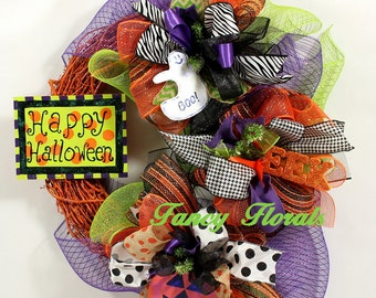 halloween mesh wreath halloween wreath halloween ribbon wreath cute halloween decor fall - Cute Halloween Decor