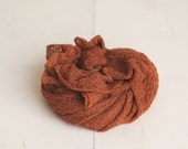 SALE - Pumpkin Spice Fall Neutral Newborn Stretch Knit Baby Wrap - Photography Prop - CLEARANCE