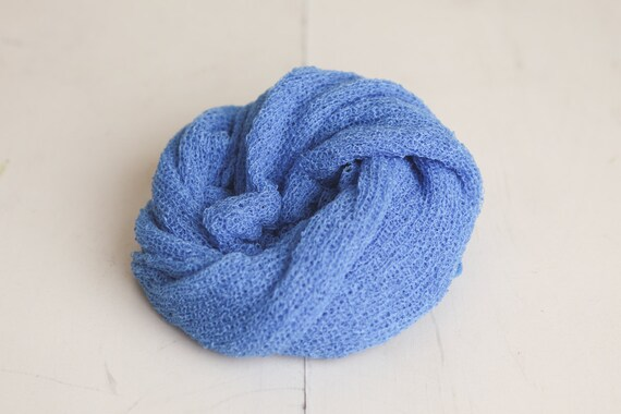 CLEARANCE - Azure Blue Newborn Stretch Knit Baby Wrap - Photography Prop - SALE