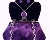 "Purple Evening Bag Clutch with 20 ""Handle,Measures 7x5x2 w/ Button Earrings and Necklace in 20"" chain"