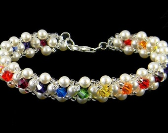 Brilliant Rainbow Crystal and Elegant Pearl Lace Bracelet made with flawless Swarovski Crystals and Pearls